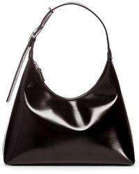 STAUD Scotty Patent Leather Hobo Bag - Black