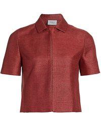 Akris Punto - Short-sleeve Silk Jacket - Lyst