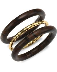 Nest - Oxford Set Of 3 Gold And Wood Bangles - Oxford - Lyst