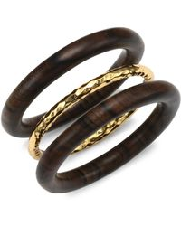 Nest | Oxford Set Of Three Gold And Wood Bangles | Lyst