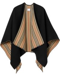 Burberry Icon Stripe Detail Wool Cape - Black