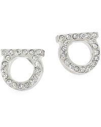 Ferragamo Stud Strass Earrings - Metallic