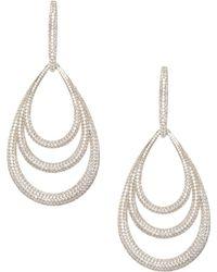 Adriana Orsini - Pave 18k Gold-plated Lobe Drop Earrings - Lyst