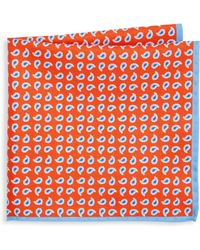 Ike Behar - Orange Paisley Pocket Square - Lyst