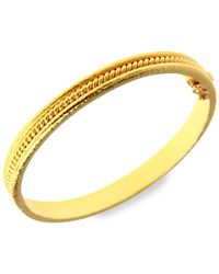 Elizabeth Locke Hammered 19k Yellow Gold Thin Braided Bangle Bracelet - Metallic