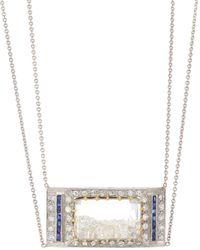 Renee Lewis 18k White Gold, Diamond & Sapphire Rectangle Shake Necklace - Metallic