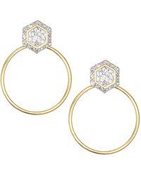 Shana Gulati Diu 18k Yellow Gold Vermeil, Sliced Raw Diamond & Pavé Champagne Diamond Stud Hoop Earrings - Metallic