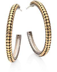 John Hardy - Dot 18k Yellow Gold & Sterling Silver Hoop Earrings/1.4 - Lyst