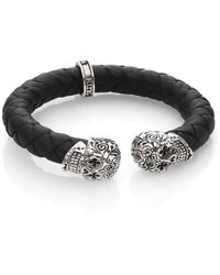 King Baby Studio - Leather And Sterling Silver Skull Bracelet - Lyst