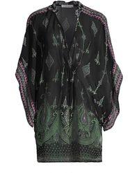 Ramy Brook Suki Print Sheer Tunic - Black