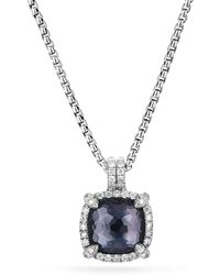 David Yurman - Chatelaine Pave Bezel Pendant Necklace With Black Orchid And Diamonds - Lyst