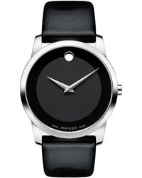 Movado - Museum Classic Stainless Steel Leather Band Watch - Lyst