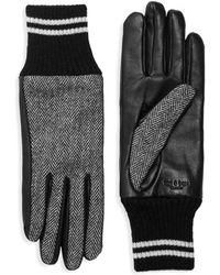 Rag & Bone Leather & Herringbone Knit Skit Gloves - Black