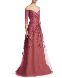 Rene Ruiz - Metallic Embroidered Tulle Gown - Lyst