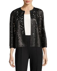 ESCADA - La Fleur Laser-cut Leather Jacket - Lyst