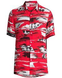 HUGO Ebor Printed Short-sleeve Button-front Shirt - Pink