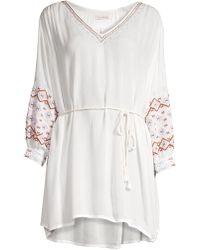 OndadeMar - Women's Embroidered Tie-waist Crepe Tunic - White - Size Large - Lyst