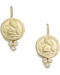 Temple St. Clair - Angel Diamond & 18k Yellow Gold Drop Earrings - Lyst