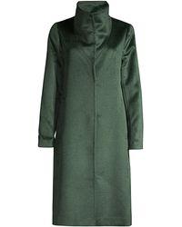 Eileen Fisher High Collar Alpaca-wool Blend Coat - Green