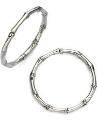 """John Hardy - Bamboo Sterling Silver Hoop Earrings/1.25"""" - Lyst"""