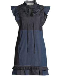 COACH Denim Patch Dress - Blue