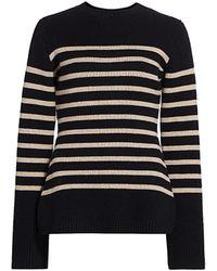 Khaite Lou Striped Knit Cashmere Sweater - Black