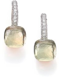 Pomellato | Nudo Prasiolite, Diamond & 18k Rose Gold Leverback Earrings | Lyst