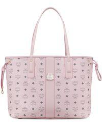 MCM Medium Liz Reversible Visetos Leather Shopper - Pink