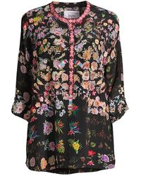 Johnny Was Brigitte Floral-print Silk Blouse - Black