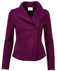 Akris Punto Felted Wool Knit Biker Jacket - Purple