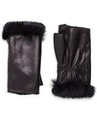 Glamourpuss Women's Rabbit Fur Trim Fingerless Leather Gloves - Black
