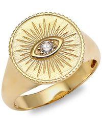 Sydney Evan 14k Yellow Gold & Diamond Marquis Eye Ring - Metallic