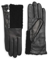 Carolina Amato Touch Tech Metallic Leather & Shearling Gloves - Black