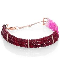 Meira T | Ruby, Diamond & 14k Yellow Gold Ombre Three-row Beaded Bracelet | Lyst