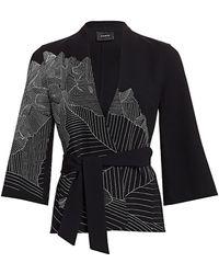 Akris Mountain Print Embroidered Kimono Jacket - Black