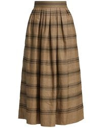 Brunello Cucinelli Beaded Stripe Midi Skirt - Brown