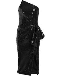Pamella Roland Liquid Sequin Cocktail Dress - Black