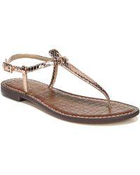 e83b4c1ce662 Sam Edelman - Gigi Rose Gold Boa Snake Print Leather Thong Sandals - Lyst