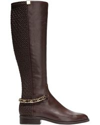 Cole Haan Idina Stretch Leather Riding Boots - Brown