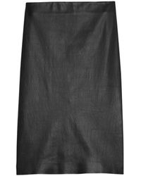 Theory Skinny Leather Pencil Skirt - Black