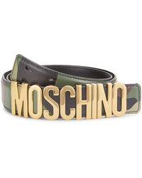Moschino Camo Logo Buckle Leather Belt - Multicolor