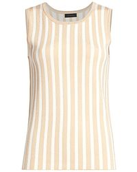 Saks Fifth Avenue Collection Plaited Stripe Shell - White