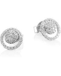 Phillips House 14k White Gold & Diamond Micro Diamond Loop Earring - Metallic