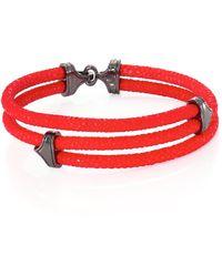Stinghd - Men's Blackened Silver & Stingray Triangle Wrap Bracelet - Red - Lyst