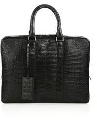 Santiago Gonzalez Men's Crocodile Slim Briefcase - Grey - Brown