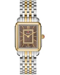 Michele Deco Ii Diamond, Mother-of-pearl & Two-tone Stainless Steel Watch Case - Metallic