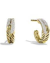 David Yurman - Labyrinth Single-loop Earrings With Diamonds In Gold - Lyst