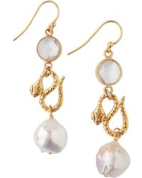 Chan Luu 11-12mm White Akoya Baroque Pearl Drop Earrings - Metallic