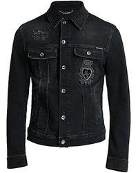 Dolce & Gabbana Crown Denim Jacket - Black