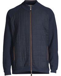 Peter Millar - Men's Quilted Zip-front Jumper - Navy - Size Medium - Lyst